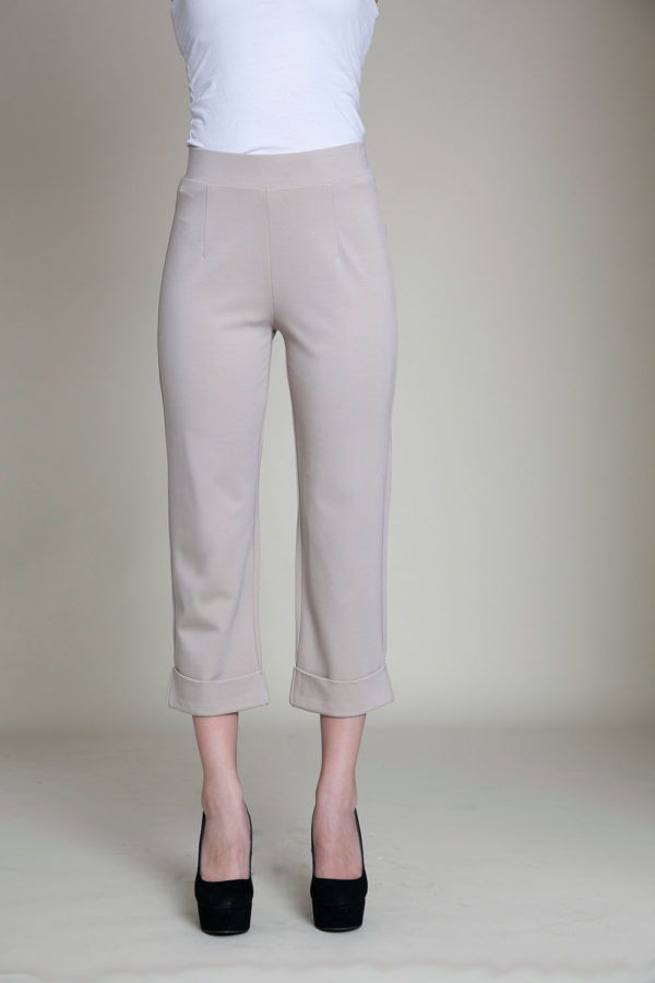 cropped foldover khaki pants- front