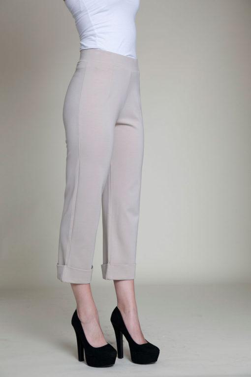 cropped foldover khaki pants- side