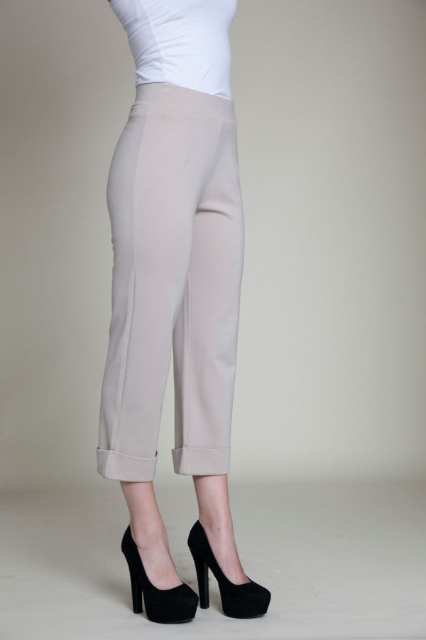 cropped foldover khaki pants- side