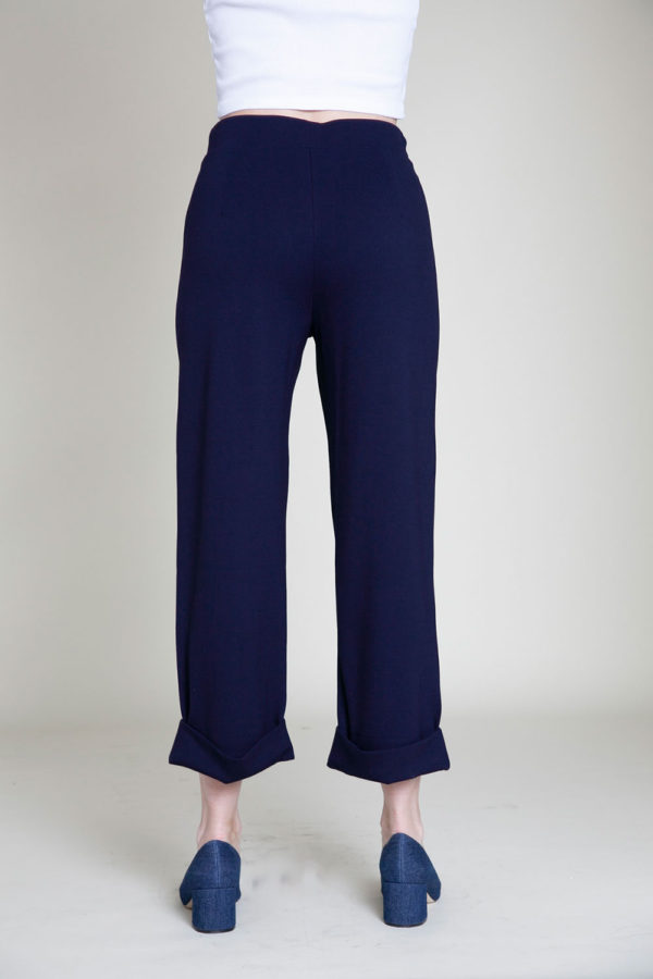 cropped foldover navy pants- back