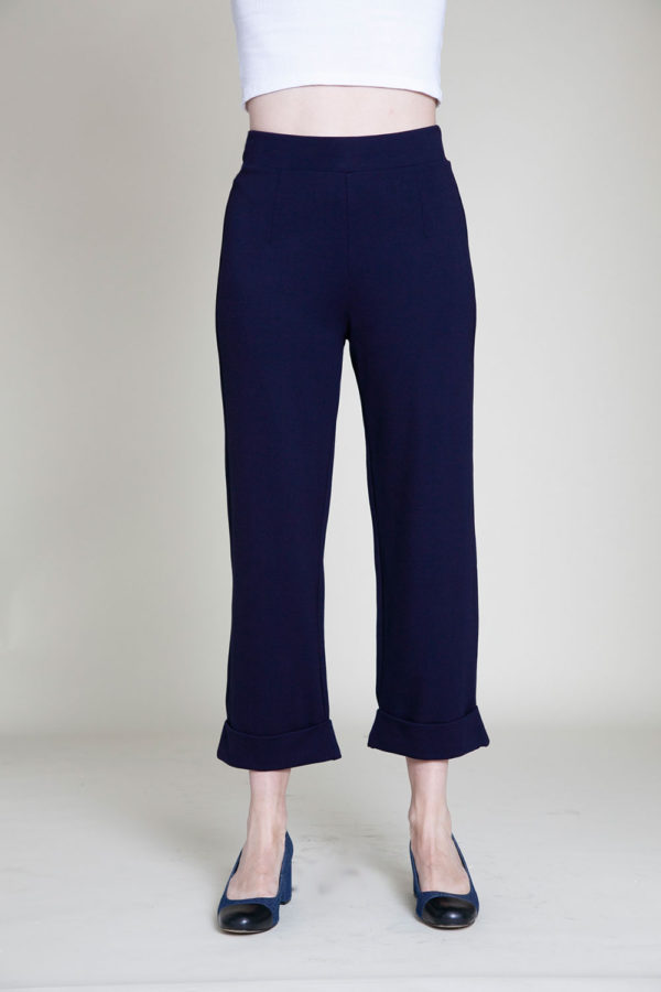 cropped foldover navy pants- front