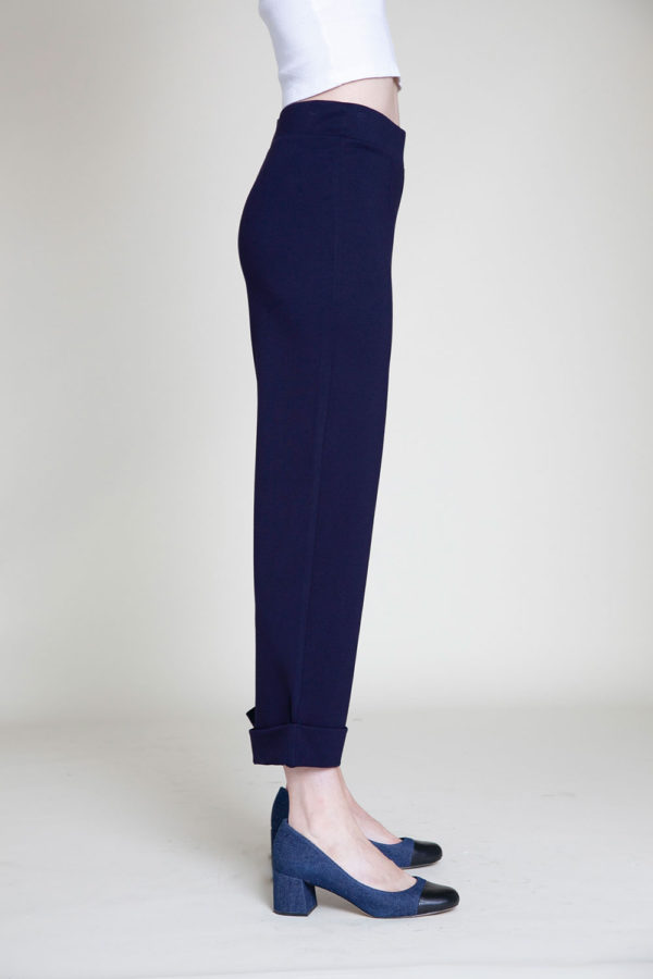 cropped foldover navy pants- side