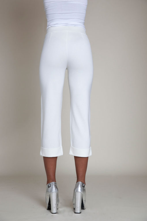 cropped foldover white pants- back