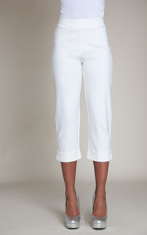 cropped foldover white pants- front