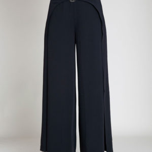 black wide leg pants- front