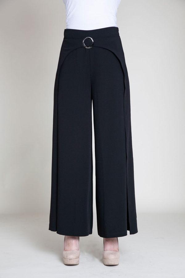 black wide leg pants- front