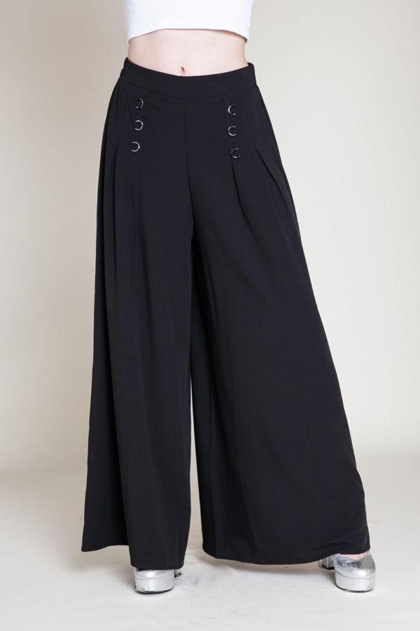 black grommet pants- front