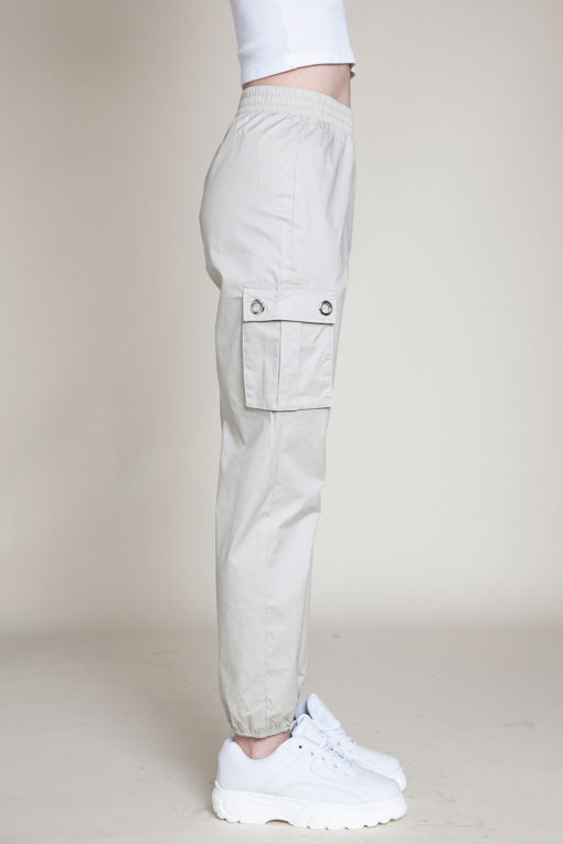 khaki cargo pants- side