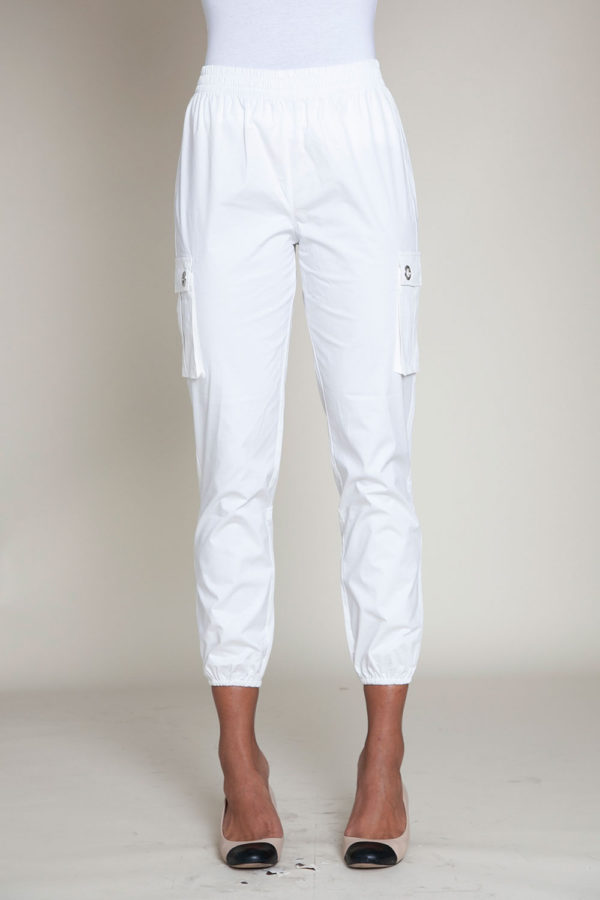 white cargo pants- front
