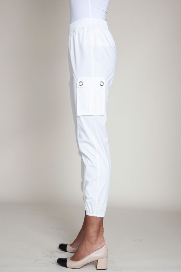white cargo pants- side