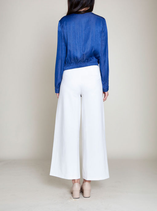 blue tie front blouse- back