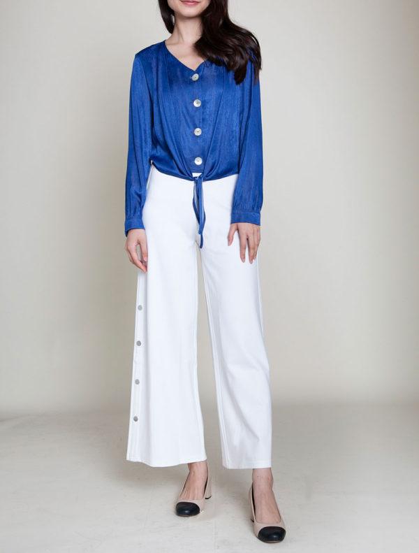 blue tie front blouse- front