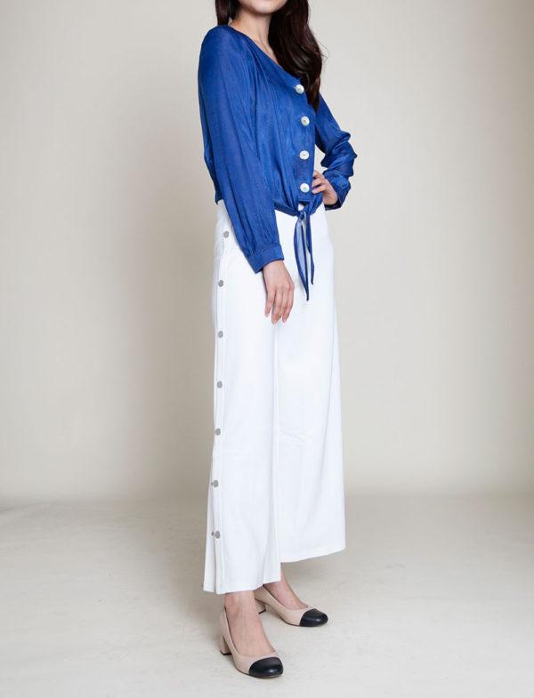 blue tie front blouse- side