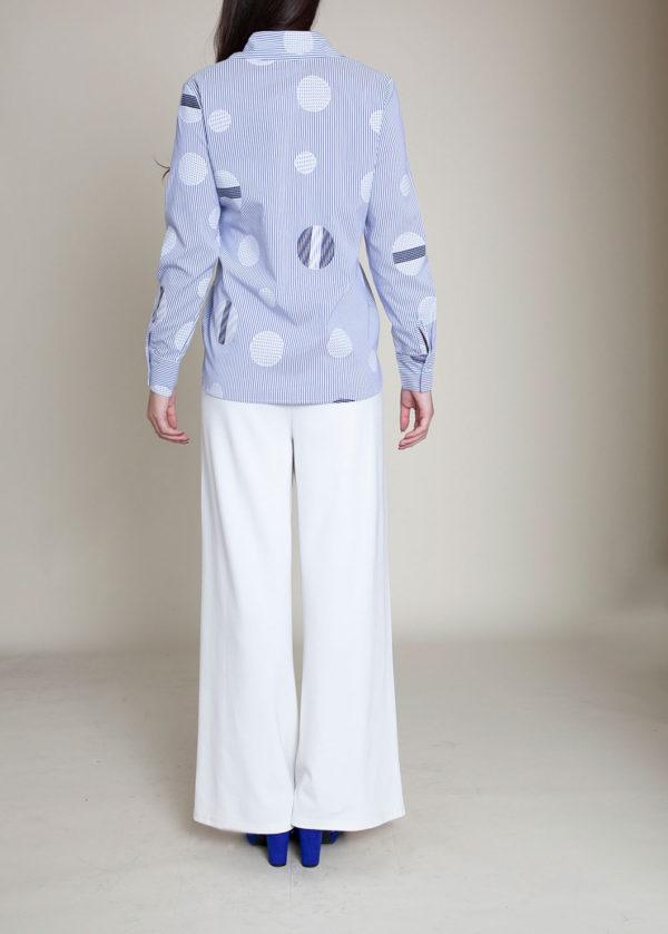 blue striped blouse- back