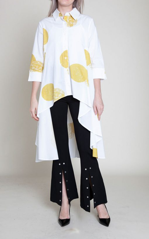 yellow and white dot blouse- front