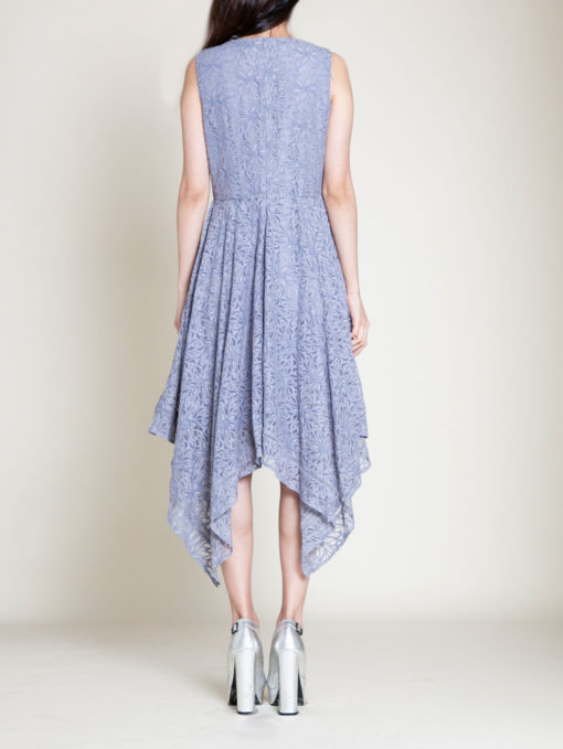 grey lace dress- back