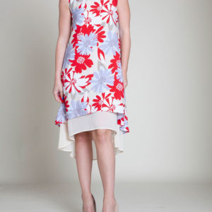 red printed dress- front