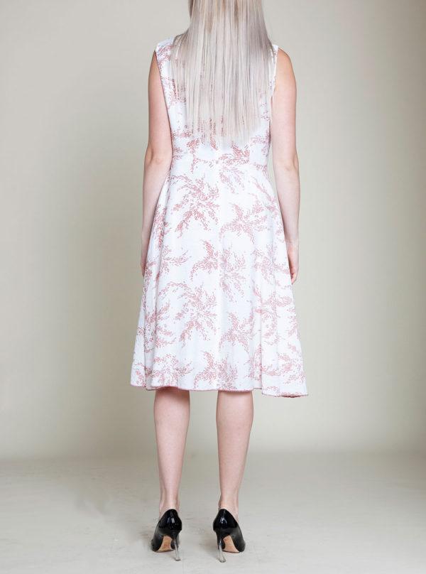 pink printed dress- back