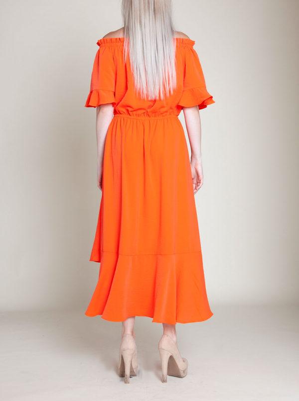 coral bardot dress- back