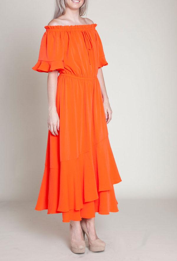 coral bardot dress- front