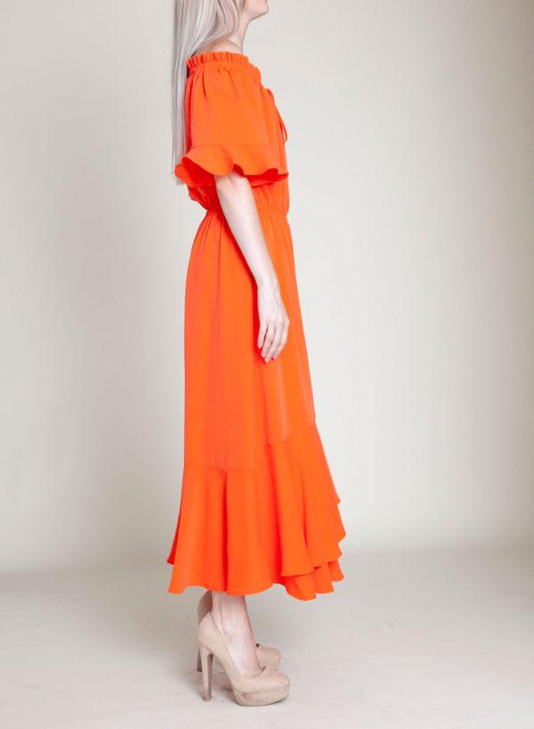 coral bardot dress- side
