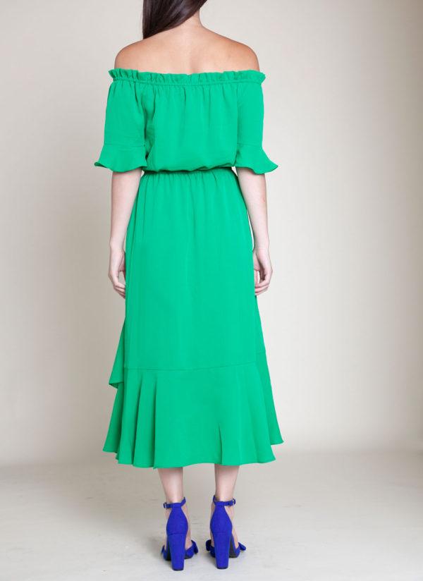 green bardot dress- back
