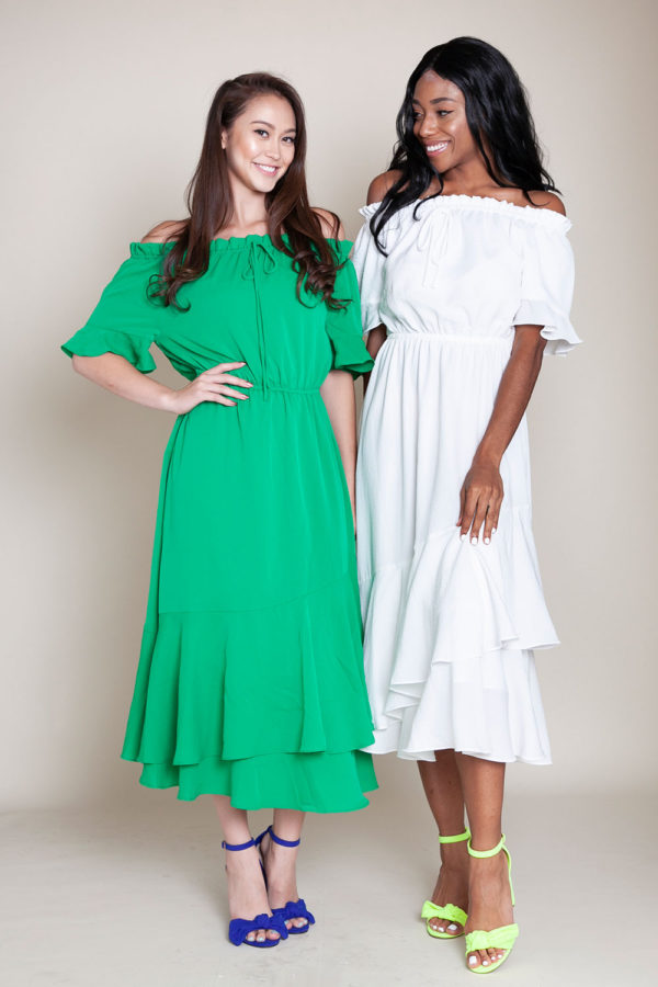 green and white bardot dress- front