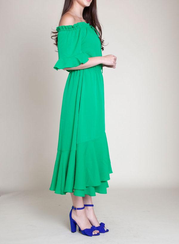 green bardot dress- side