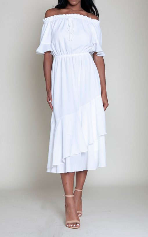 off white bardot dress- front