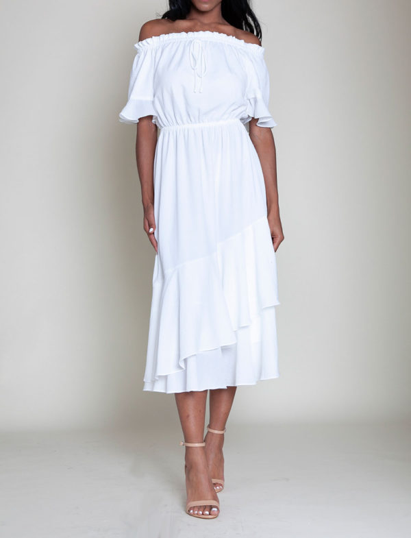 off white bardot dress- front