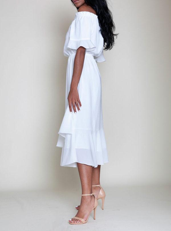 off white bardot dress- side