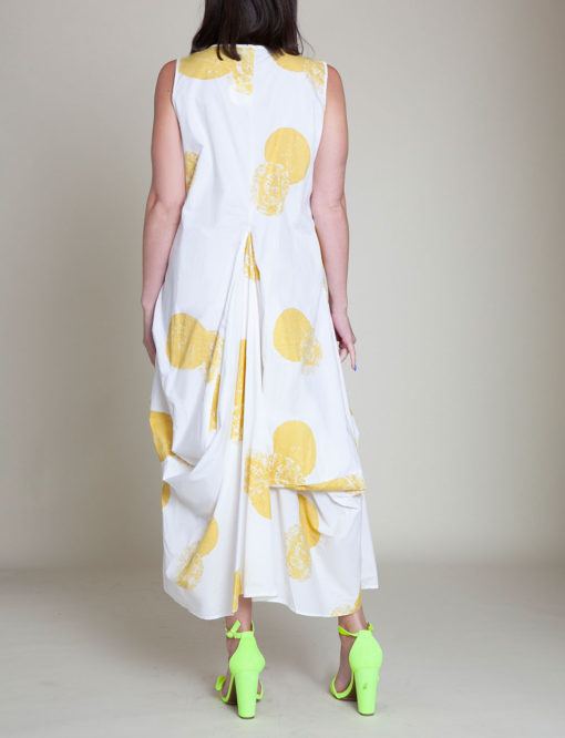 yellow printed dress- back