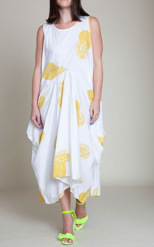 yellow printed dress- front