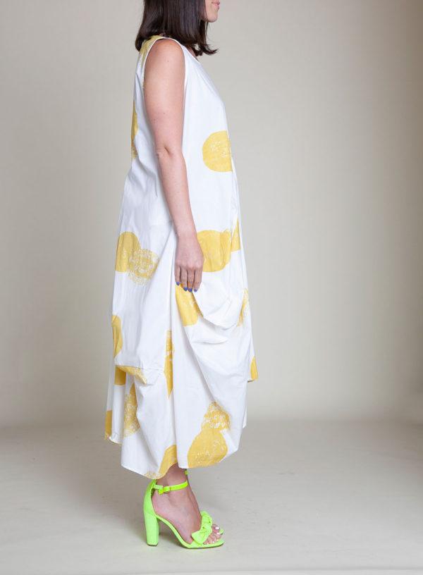 yellow printed dress- side