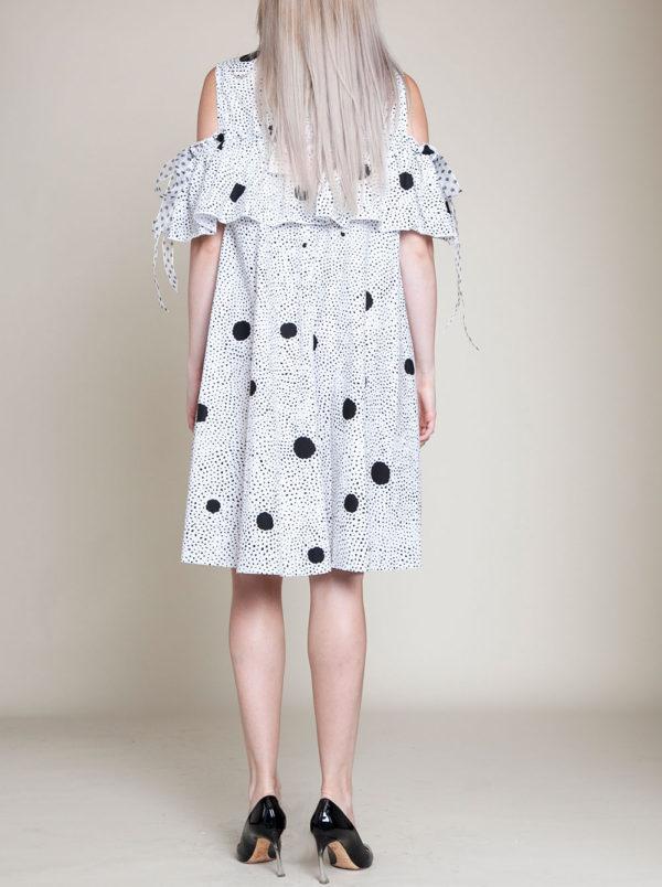 black dotted dress- back