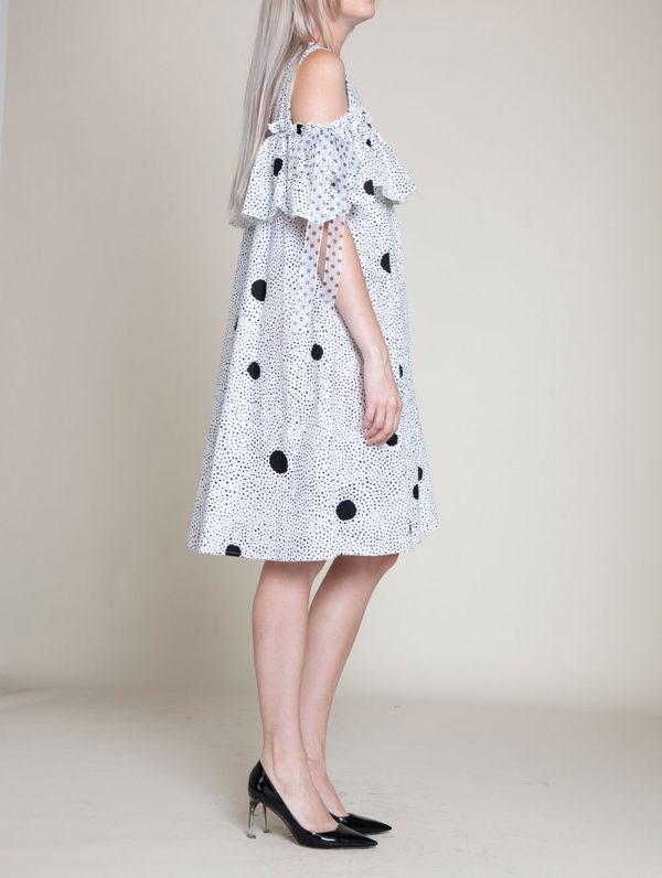 black dotted dress- side