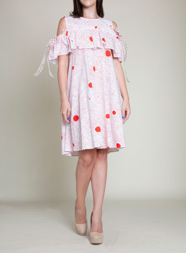 red dotted dress- front