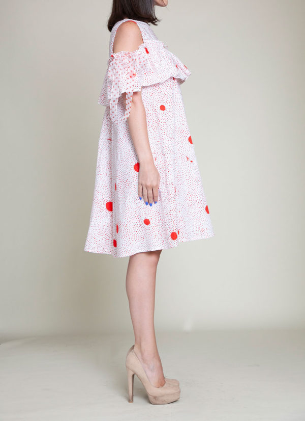 red dotted dress- side
