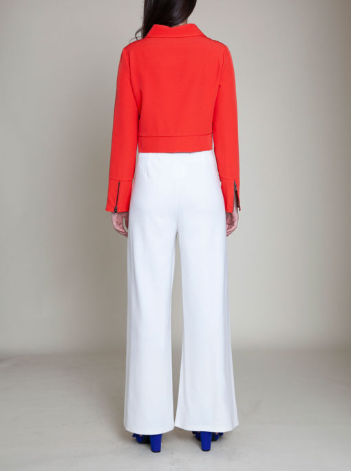short collared coral jacket- back