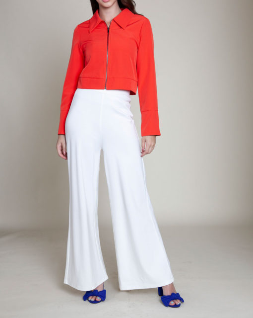 short collared coral jacket- front