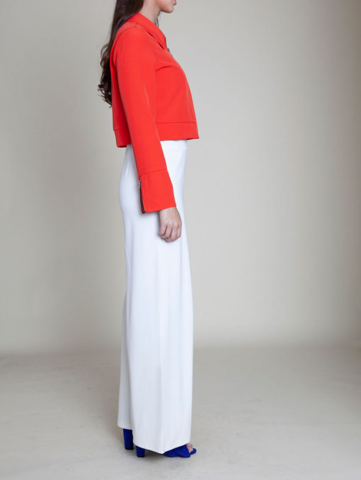 short collared coral jacket- side