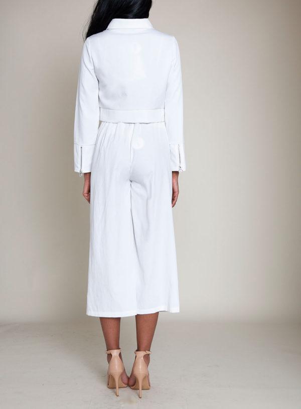 short collared white jacket- back
