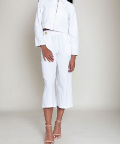 short collared white jacket- front