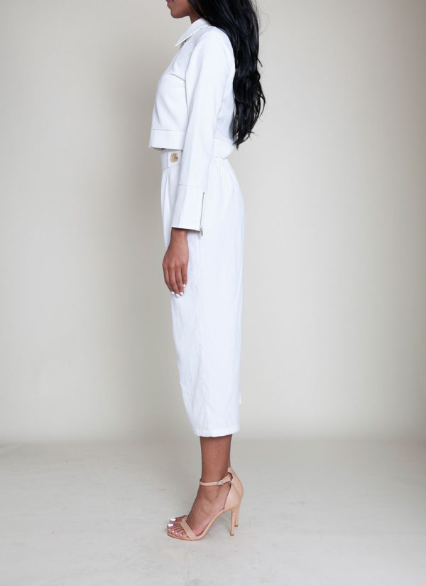 short collared white jacket- side