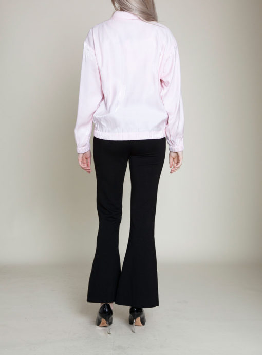 pink collared jacket- back