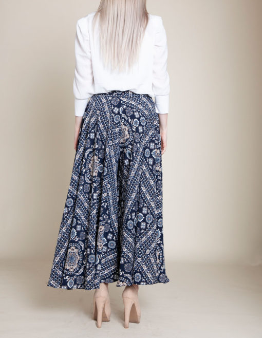 paisley navy pants- back