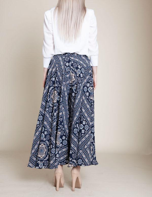 paisley navy pants- back
