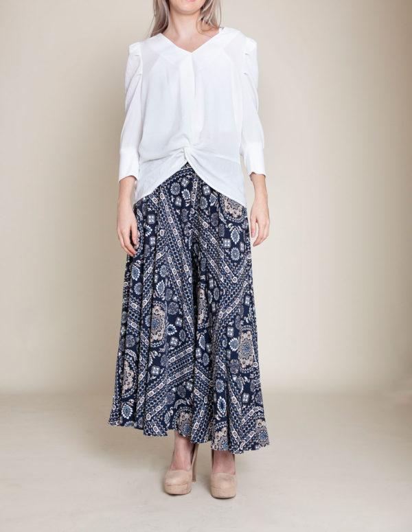 paisley navy pants- front