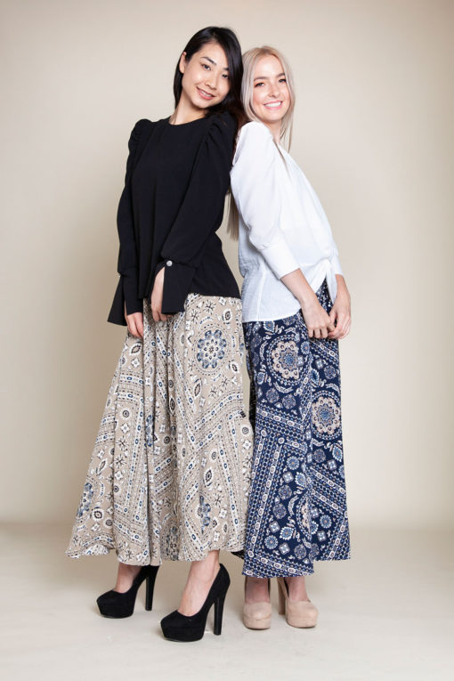 paisley khaki and navy pants- front