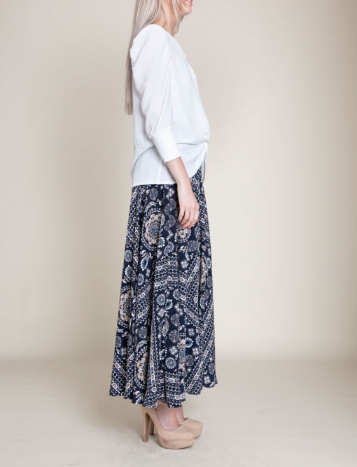 paisley navy pants- side